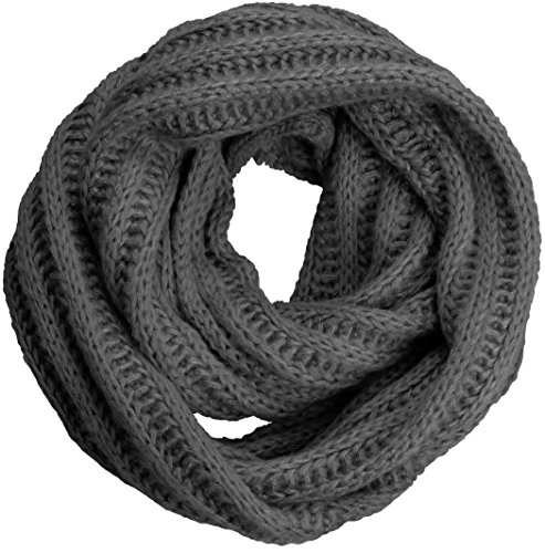 NEOSAN Women's Men Thick Winter Knitted Infinity Circle Loop Scarf ST Charcoal