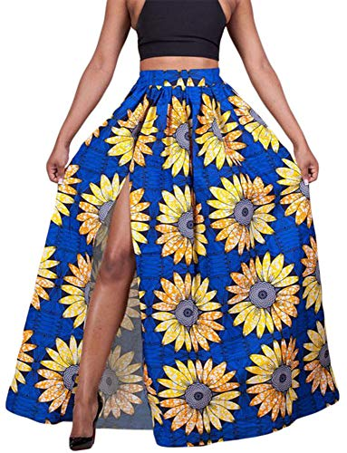 920 - High Slit Printed African Style Maxi Summer Beach Plus Size Skirt (3X, Sunflower)