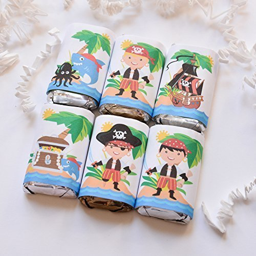 Pirate Birthday Supplies Pirate Party Decoration Pirate Party Favor Labels 54 Pirate Labels for Hershey/'s Miniatures Favor