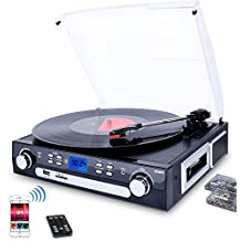 Digitnow! Bluetooth Viny Record Player Turntable, Cassette,Radio and Aux in with USB Port & SD Encoding- Remote Control,Built-in stereo speaker,Stand Alone Music Player ,Audio Built In Amplifier ( Please note: Long press around 5 seconds to power on)