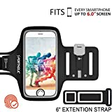 Running Armband Compatible with iPhone X 8 7 6 6s Plus Samsung Galaxy S10 S9 S8 S7 S6 Plus Running Phone Holder With Extension Strap Sweatproof Sports Armband for any Screen Up to 6.0 inches