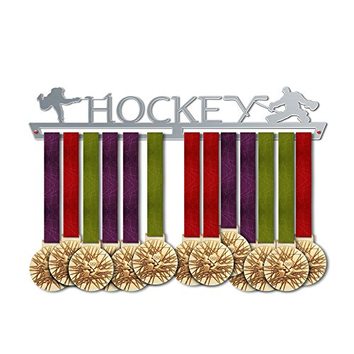 VICTORY HANGERS Hockey Medal Hanger Display - Wall Mounted Award Metal Holder - 100% Stainless Steel Rack for Champions