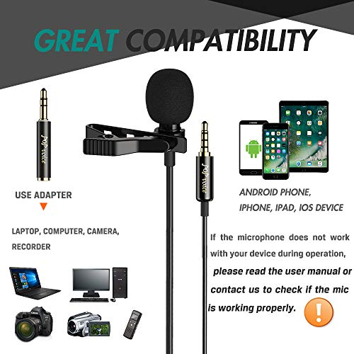 PoP voice Professional Lavalier Lapel Microphone Omnidirectional Condenser Mic for iPhone Android Smartphone,Recording Mic for Youtube,Interview,Video