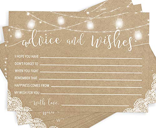 Rustic Advice and Well Wishes | Set of 50 Cards | Wedding and Bridal Shower Advice | Wedding Guest Book -