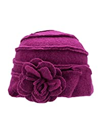 Lawliet Solid Color 1920s Womens 100% Wool Flower Winter Bucket Cap Beret Hat A376