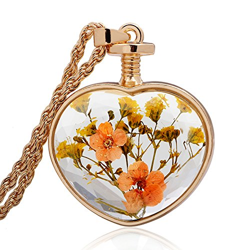 Winter's Secret Heart Shape Orange Floral Dried Flower Glass Pendant Gold Color Twist Chain (Glass 3 Hearts Necklace)