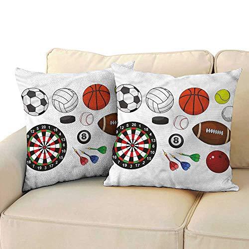 Soft Microfiber Pillowcase Set Boys Room Balls Dart Hockey Puck Premium,Ultra Soft,Hypoallergenic,Breathable 24