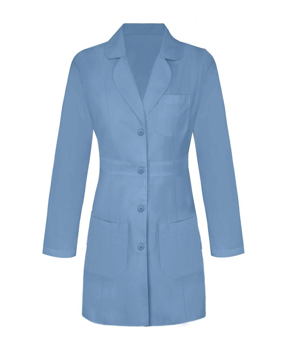 Panda Uniform Custom Women 34 Inch Medical Consultation Lab Coat-Ceil Blue-M