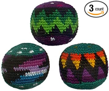 set of 3 hacky sacks assorted colors