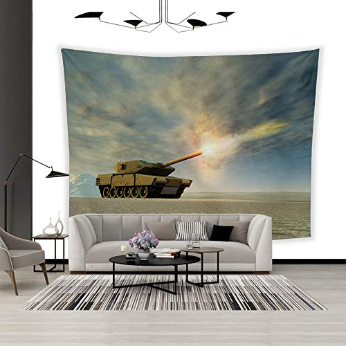 BEISISS Art Polyester Wall Hanging Tapestry,Theme- Battle Tank Firing,Bedroom Living Room Dormitory Wall Hanging Tapestry-60 x40