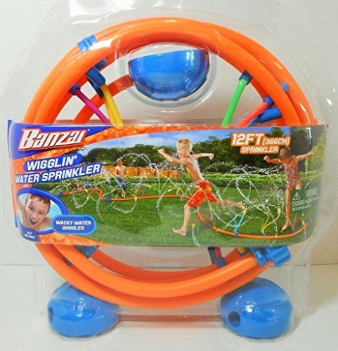 - (Ship from USA) Banzai Wigglin' Water Sprinkler Wacky Water Wiggles 12' Foot Sprinkler Age 5+ -ITEM#: G15/uiF982A1016