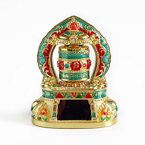 Liugw Metal Tibetan Solar Prayer Wheel Quality Buddhist Prayer scriptures Ornamen