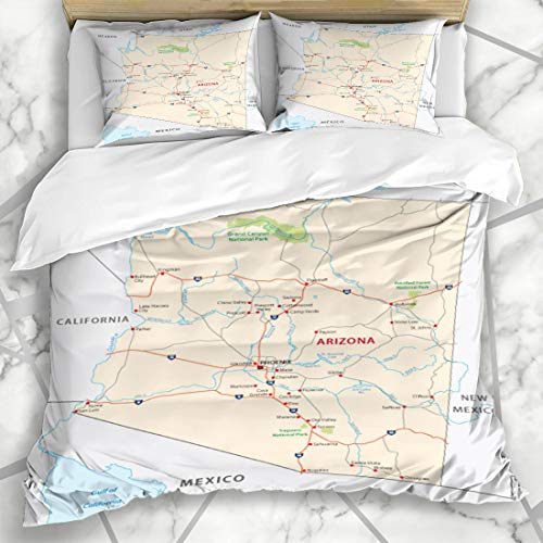 Ahawoso Duvet Cover Sets King 90x104 State Arizona Road Map Gulf Phoenix California Nevada River Design Microfiber Bedding with 2 Pillow Shams