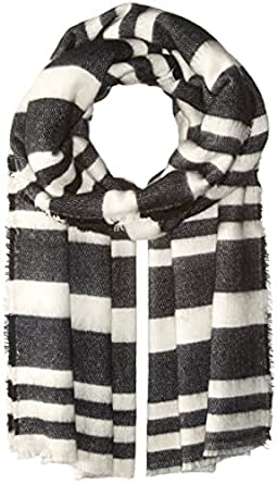 BCBGeneration Women's Striped Square Scarf, Black, One Size
