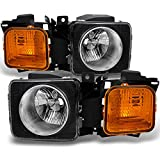 hummer h3 lights - Hummer H3 | H3T Black Amber Headlights Head Lamps Driver Left + Passenger Right Side Replacement Set