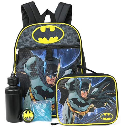Batman 5-Piece Backpack Set - black multi, one size