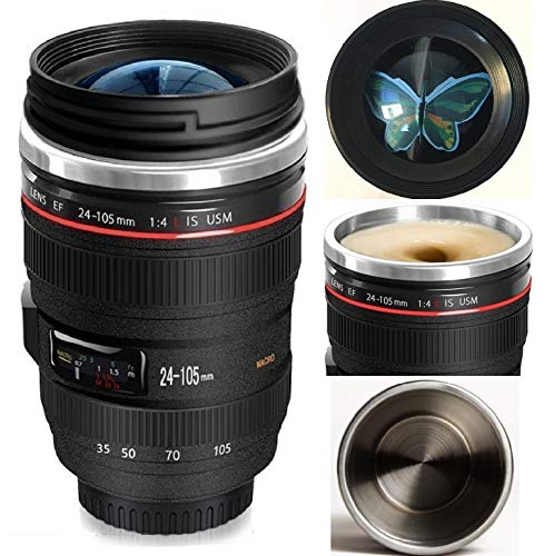 Bestic Camera Lens Coffee Mug,12oz,the Latest Style Stainless Steel Travel Mugs 100% Leak Proof~Insulated Cup Works Great for Ice Drink,Hot Beverage~Novelty Gifts Thermos Cup for Outdoor activities