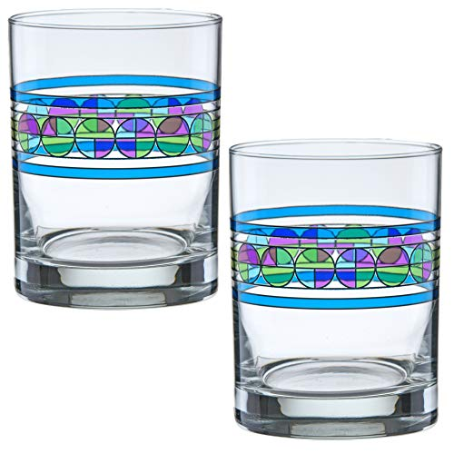(Frank Lloyd Wright DOF Double Old Fashioned Glass 14-Ounce (Gift Boxed Set of 2, Saguaro Flower))