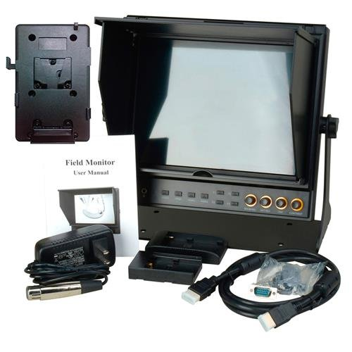 Delvcam 9.7in Dual Input HDMI Monitor and V-Mount Battery Plate (DELV-HDSD-10-VM) by Delvcam