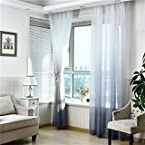 Sheer Gray Gradient Curtain Panel Silk Look Grommet Top Living Room bedroom 52W x 96L Inch 1 panel For Sale