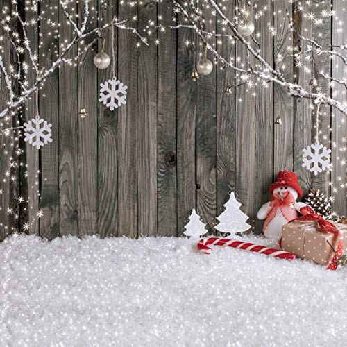 LYWYGG 10X10FT Christmas Backdrop Snow Floor Photo Backgrounds Wooden Wall Photography Backdrops for Child CP-70-1010