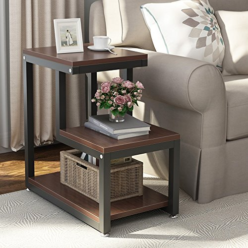 Tribesigns Rustic End Table, 3-Tier Chair Side Table Night Stand with Storage Shelf for Living Room, Bedroom (Espresso) ()