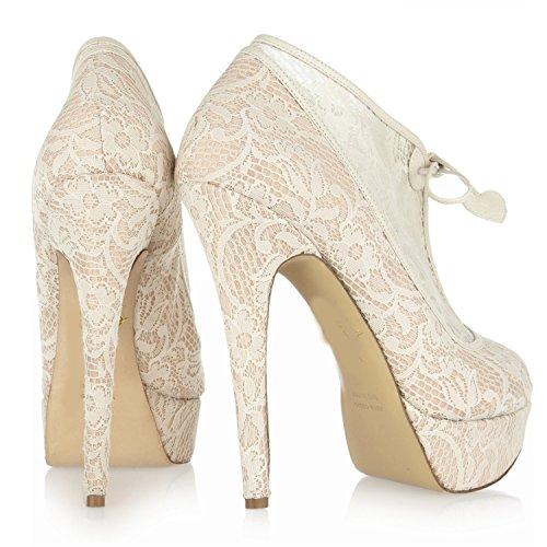 L@YC Womens High Heels Sexy White Lace Platform Wedding Bridal Sandals Court Shoes &Apricot Satin Apricot avn1EU1Ir