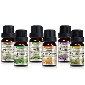 Pure Original Aromatherapy Essential Oil Set – 100% Pure Therapeutic Grade - 6 Bottles/10ml (Lavender, Tea Tree, Eucalyptus, Lemongrass, Sweet Orange, Peppermint)