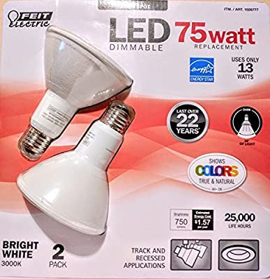 Feit Electric 75 Watt LED PAR30 SPOT,LED DIMMABLE Bright White 3000k uses only 13 WATTS -Track and Recessed - 2 Pack (1026777)