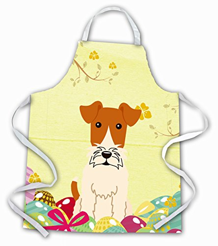 Caroline's Treasures Easter Eggs Wire Fox Terrier Apron, Large, Multicolor
