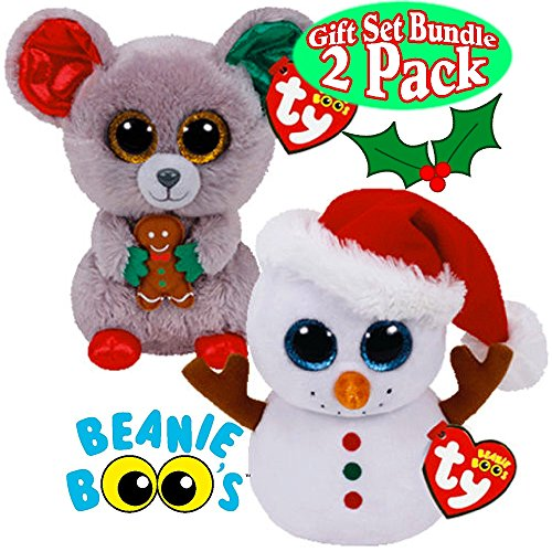 TY Beanie Boos Scoop (Snowman) & Mac (Mouse) Holiday (Christmas) Gift Set Bundle - 2 Pack