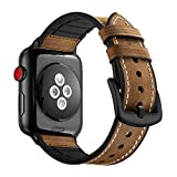 Hybrid Leather Sports Band Compatible for Apple Watch Vintage Bands Dark Brown Replacement Straps Sweatproof Classic iwatch Series 1 2 3 Nike Space Black Grey 42mm Brown Men Women(Brown, 42mm)
