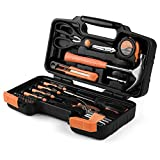 Flexzion Tool Set Box - Hand Tool Kit & Accessories For General Household DIY Home Repair with Plastic Toolbox Storage Organizer Case - Homeowner's Tool Kit (Orange & Black)