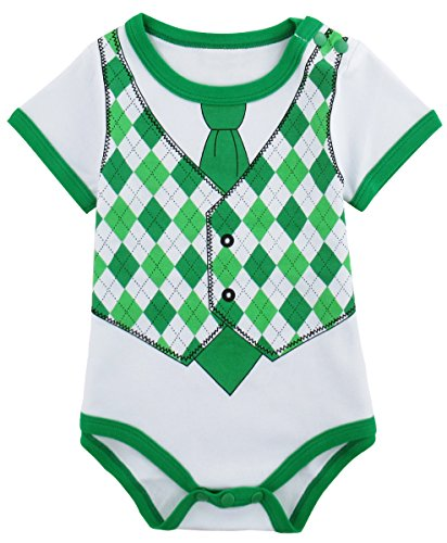 St Patricks Day Baby Clothes (Mombebe Baby Boy's ST. Patrick's Day Costume Bodysuit (12-18 Months, Gentleman))
