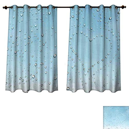 Clear Astoria Crystal (Turquoise Blackout Curtains Panels for Bedroom Heart Shape Rain Droplets on Crystal Clear Window Glass Pure Love Valentines Romantic Room Darkening Curtains Blue W52 x L63 inch)