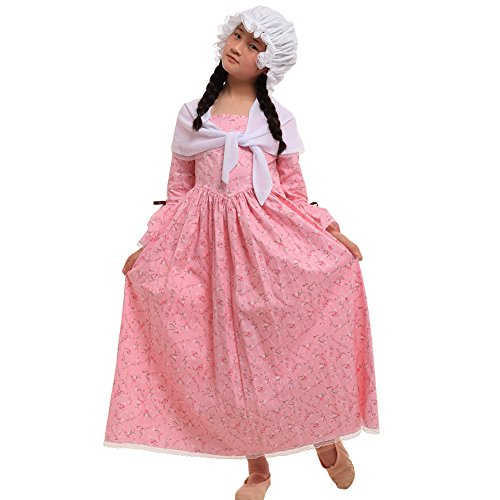 GRACEART Colonial Girls Dress Prairie Pioneer Costume 100% Cotton (Pink,Size-14)