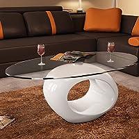 Oval Glass Top Fiberglass High Gloss Stand Coffee Table, White