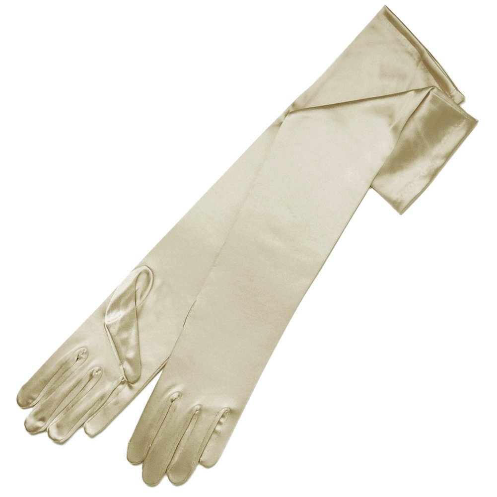 ZaZa Bridal 19.5'' Long Shiny Stretch Satin Dress Gloves 12BL-Light Gold