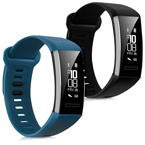 kwmobile 2in1 set: 2x Sport spare bracelet for Huawei Band 2/Band 2 Pro in black dark blue Inner dimensions: approx. 16-22 cm - silicone bracelet with clock clasp without tracker