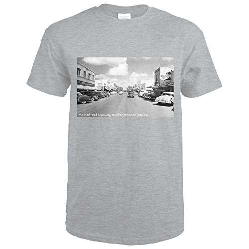 McAllen, Texas - Northern View up Main Street Photograph (Sport Grey T-Shirt - Sports Mcallen Tx Mcallen