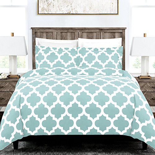 Egyptian Luxury Quatrefoil Duvet Cover Set - 3-Piece Ultra Soft Double Brushed Microfiber Printed Cover with Shams - Twin/Twin XL - Aqua/White (Double Sets Bedding)