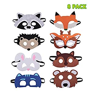 Forest Friends Mask, 8 Pieces Felt Animal Masks for Kids Birthday Party Favors