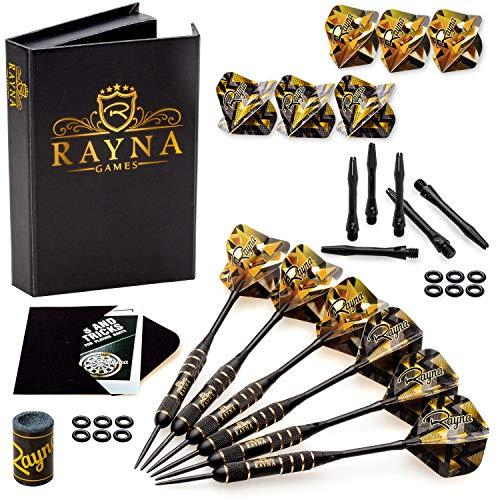 RAYNA GAMES Professional Steel Tip Darts Set with GlFT Accessories Case - Throwing Darts with Adjustable Length - 6 Brass Barrels 20 Grams + 12 Aluminum Shafts 2 Sizes + 12 Flights + Dart Sharpener