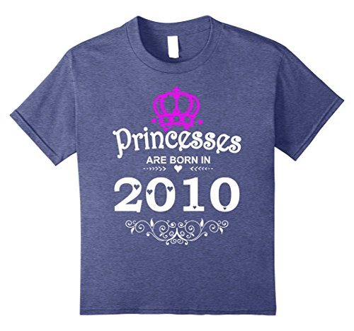 Kids Princesses Are Born In 2010 T-shirt 8th Birthday Gift Girl 12 Heather Blue ()