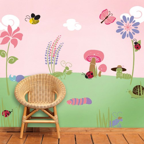 MyWonderfulWalls Bugs and Blossoms Girl's Room Wall (Stencils For Murals)