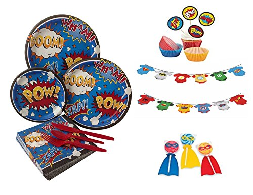 Superhero Comic Marvel Avengers Party Supplies for Boys, Baby Showers for 16 guests includes: Plates, Napkins, Cups, Plastic Cutlery, Tablecloth,Banner, Suckers, Cupcake Kit(214 ()