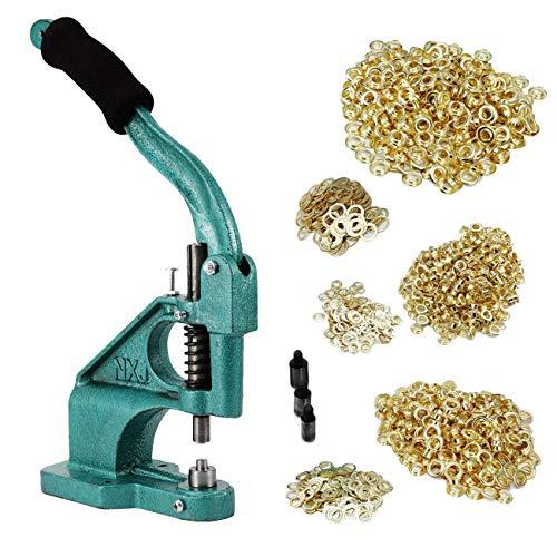 BEAMNOVA Grommet Machine Hand Press Tool Eyelet Kit W/ 3 Dies (#0#2#4) of 1/4, 3/8, 1/2 Inch (6, 10, 12mm), 900 Golden Grommets