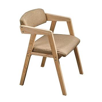 YAMEIJIA Silla de Comedor Retro con reposabrazos sillón de Madera ...