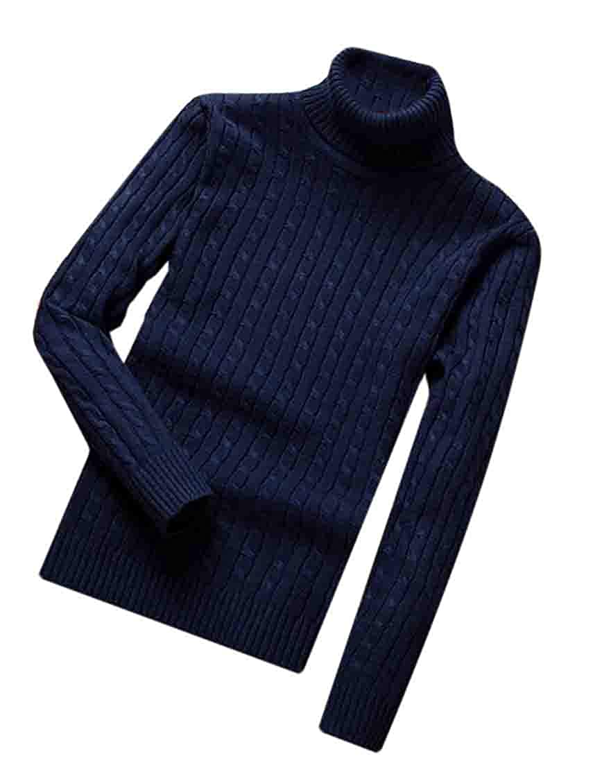 XiaoTianXinMen XTX Mens Pullover Turtleneck Jumper Solid Color Slim Cable Knit Sweater