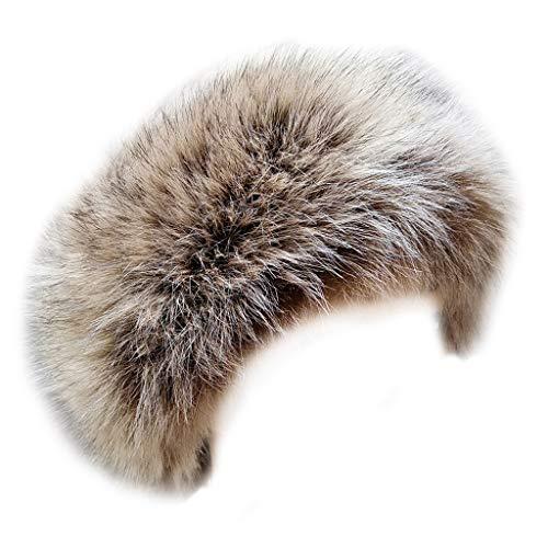 (FHQHTH Faux Fur Headband with Elastic Stretch Women Fur Hat Winter Ear Warmer Earmuff Ski Cold Weather Caps [Khaki With Tips Beige and Black] )